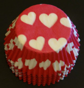 50 White Valentine Hearts on Red Liners Baking Cups Cupcake STANDARD SIZE