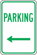 "Accuform Signs FRP225RA Engineer Grade Reflective Aluminium Designated Parking Sign, Legend ""PARKING"" with Left Arrow, 30cm Width x 46cm Length x 0.2cm Thickness, Green on White"