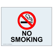 ComplianceSigns Clear Vinyl No Smoking Label, 13cm x 8.9cm . with English, 4-Pack