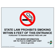 ComplianceSigns Clear Vinyl Indiana No Smoking X Feet Label, 13cm x 8.9cm . with Front Adhesive, English, 4-Pack