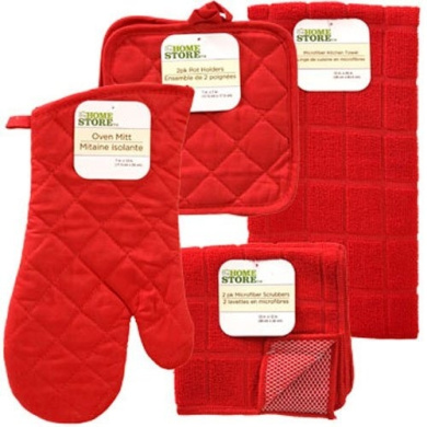 The Home Store Red Windowpane Pattern Kitchen Linens Collection: Set includes: 1 Pot Holder * 2 Pot Holders * 1 Kitchen Towel * 2 Microfiber Scrubbers (6 Items Total)