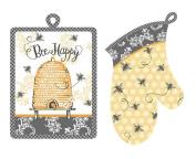 """Queen Bee Potholder & Oven Mitt Set """"Bee Happy"""" by Kay Dee Designs"""