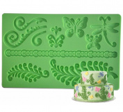 FOUR-C Silicone Moulds Spring Garden Fondant and Gum paste Mat Colour Green