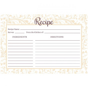 Lace Champagne Recipe Card Set from Dashleigh, 48 Cards, 10cm x 15cm , Water-Resistant and High Quality