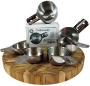ChefsGrade Stainless Steel Measuring Cups - Highly Polished Exterior, Satin Interior, 6 Piece Set