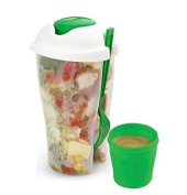 Salad to Go Serving Cup Shaker with Dressing Container and Fork. No More Tasteless or Soggy Salads. Conveniently Store Parfect Salad Portions and Travel with Fork and Dressing. Keep Your Salads / Fruit and Veggies Fresh, Cool and Crisp When You Travel ..