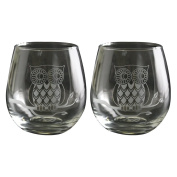 TMD Holdings Etched Owl Stemless Wine Glasses, Set of 2