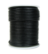 Round Leather Cord, 2mm Black, 25 Metre Spool (~28 Yards) for Beading, Jewellery, Crafts