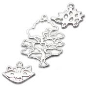 Amoracast Exclusive Sterling Silver Wise Oak Tree Pendant Sampler Set - Raccoon and Hedgehog
