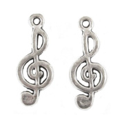 Silver Musical Metal Charms - TREBLE CLEF 10x26mm