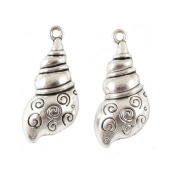 Metal Beach Sea Pendant Charms-SILVER SPIRAL SHELL 13x30mm