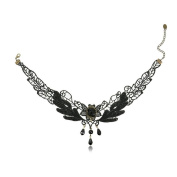 Black Lace Wings Patten Design Retro Gothic Style Bead Pendant Sex Necklace for Women