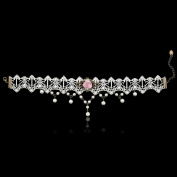 Elegant White Lace Pink Rose Bud Venetian Pearl Crystal Lace Collar Necklace