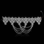 Women's Gothic Style White Lace Collar Collar Necklace with Chain