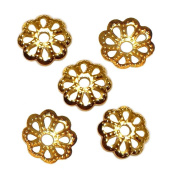 BEAD CAP DOTTED SCALLOP OR Filigree Flower 6mm PLATED BRASS FINDING 100pc FREE SHIPPING