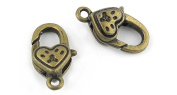 5x Anti-Brass Fashion Jewellery Making Charms A1134 Heart-shaped Lobster Clasp Wholesale Supplies Pendant Retro DIY Craft Alloys Lots Repair Jewellery Findings