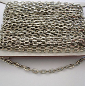 BeadsTreasure 4.6m Spool-Nickel Colour Flat Oval Cable Unfinished Chain-3.2x2.2x0.6mm Jewellery Making Supply.