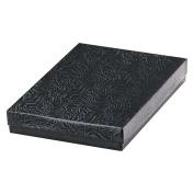 25 Black Swirl Cotton Charm Jewellery Box Gift Display Case 14cm x 9.8cm x 2.5cm