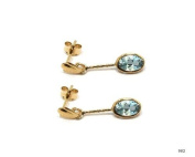 New 9CT Gold BLUE TOPAZ Oval Drop Earrings (GD982) GOLD EARRING / Gold Jewellry