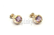 New 9Ct Gold Round Amethyst Diamond Cut Edge Stud Earrings (GS1221) GOLD EARRING / Gold Jewellry