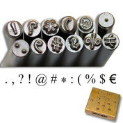 KENT Set of 12 Metal Punch Stamps Size 3.0mm Punctuation Marks