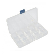15 Compartments Adjustable Clear Beads Display Storage Case Box 18x10.5x2.4cm