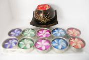 Floating Candles Frangipani Flowers Aromatherapy on Coconut Shell Handmade Set 1holder And10 Candle