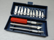 16 PC HOBBY KNIFE SET ARTS & CRAFT CUT & TRIM with 3-HANDLES & 13 Blades BOXED