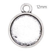 12mm Round Cabochon Base Antique Silver Plated Pendant Trays-20pcs