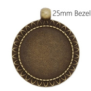 20pcs/lot Antique Bronze Plated Blank Pendant Trays fit 25mm Round Cabochon-Jewellery Makings