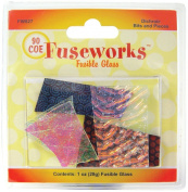 Fuseworks 30ml Dichroic Bits and Pieces 90 COE Fusible Glass, Assorted Colours