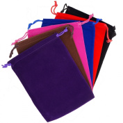 Pack of 6 Mix Colour Soft Velvet Pouches w Drawstrings for Jewellery Gift Packaging, 15x20cm