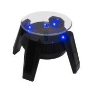 Leadleds Exquisite New Black Solar Powered Display Stand Rotating Turntable with LED Light +