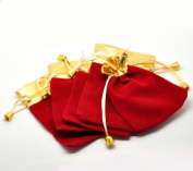 PEPPERLONELY Brand, 10PC Red Velvet Drawstring Pouches Jewellery Gift Bags 12cm x 9cm