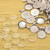 PEPPERLONELY Brand 10 Sets Antiqued Silver Cabochon Frame Setting Tray Pendant with Clear Round Glass Dome Tile Cabochon 18mm