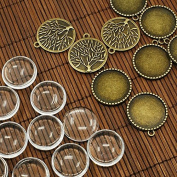 PEPPERLONELY Brand 10 Sets Antiqued Bronze Tree of Life Pendant Cabochon Frame Setting Tray with Clear Round Glass Dome Tile Cabochon 25mm