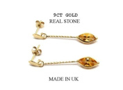 New 9CT Gold CITRINE Marquise Long Drop Earrings (GD1520) GOLD EARRING / Gold Jewellry