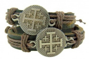 Set of 2 Jerusalem Crusaders Cross Medal 20cm Adjustable Leather Bracelet