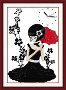 Benway Counted Cross Stitch Clock Girl In Black Skirt Under Red Umbrella 14 count 39cm X 52cm