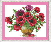 Benway Stamped Cross Stitch Poppy Flowers In Vase 14 Count (Stamped Aida) 42x35cm