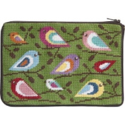 Stitch & Zip Needlepoint Purse/Cosmetic Case-SZ598 Birds of Colour