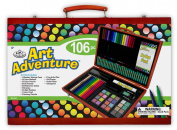 Royal Brush Manufacturing Company Art Adventure 106-Piece Wood Box Art Set