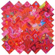 Kaffe Fassett RICH REDS MAGENTA PINK Precut 13cm Cotton Fabric Quilting Squares Charm Pack Assortment Westminster Fibres