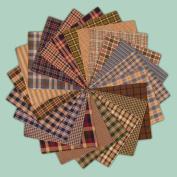 40 Cosy Charm Pack, 15cm Precut Cotton Homespun Fabric Squares by Jubilee Creative Studio