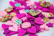 Pack of Over 95pcs Pink & purple Various Shapes 2 Holes Wood Buttons(15-20mm) Package for Sewing Scrapbooking