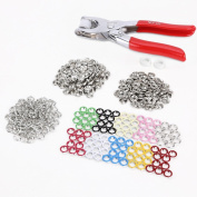 100PCS Press On Claws Studs Snap Popper Fasteners 9.5mm 10 Colours + Pliers