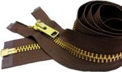 ZipperStop Wholesale Authorised Distributor YKK® 70cm Extra Heavy Duty Jacket Zipper (Special Custom) YKK #10 Brass Separating ~ Colour 568 Seal Brown