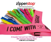 Zipperstop Wholesale YKK®- 25 Assorted 18cm and 20cm Nylon Coil Zippers YKK® #3 Skirt & Dress Zippers Closed Bottom 18cm & 20cm Made in USA with Customised Zipperstop Ribbon - Crafter's Special