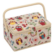 Hobby Gift Owl Design Sewing Box on Natural Medium
