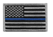 US Flag Thin Blue Line Patch for Police and Law Enforcement with Hook/Loop Backing